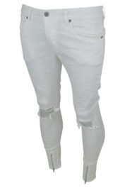 Project Paris Front Zip Jeans White