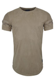 Project Paris Suede Ribbed Lace Tee Beige