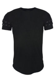 Project Paris Suede Ribbed Lace Tee Black