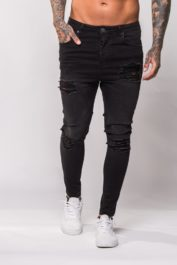 11 Deg Tartan drop crotch jeans Black