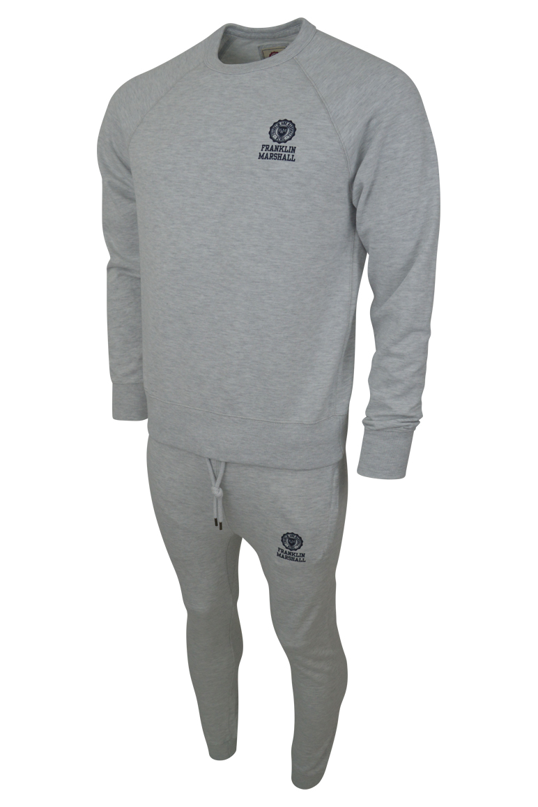 Franklin & Marshall – 039 Crew Sweat Tracksuit  – Light Grey