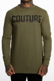 Fresh Couture Large Logo LS Tee Khaki