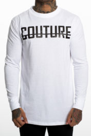 Fresh Couture Large Logo LS Tee White