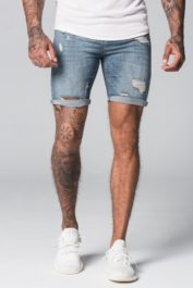 GFN Destroyed denim shorts blue