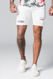 GFN Destroyed denim shorts white