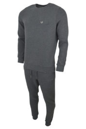True Religion Crew Fleece Metal Horseshoe tracksuit Grey