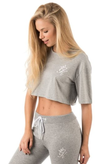 Gym King – Kourtney Crop T-Shirt – Grey eed3b0cb3