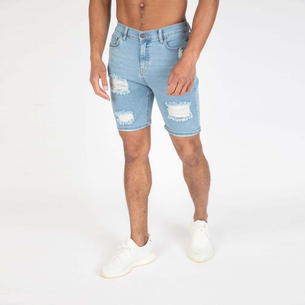 Nimes – Rip & Repair Denim Shorts – Light Blue
