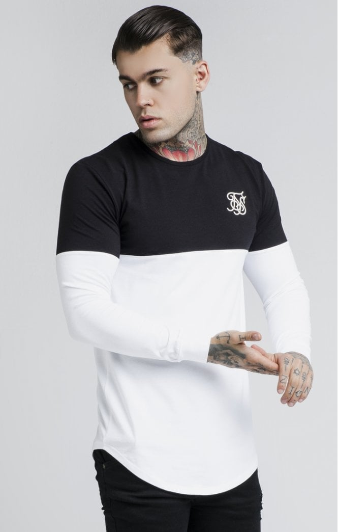 Sik Silk – Cut Sew LS Gym Tee – Black/White