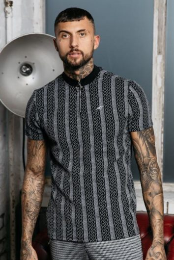 Mauvais - Distorted Stripe Polo - Grey/Black