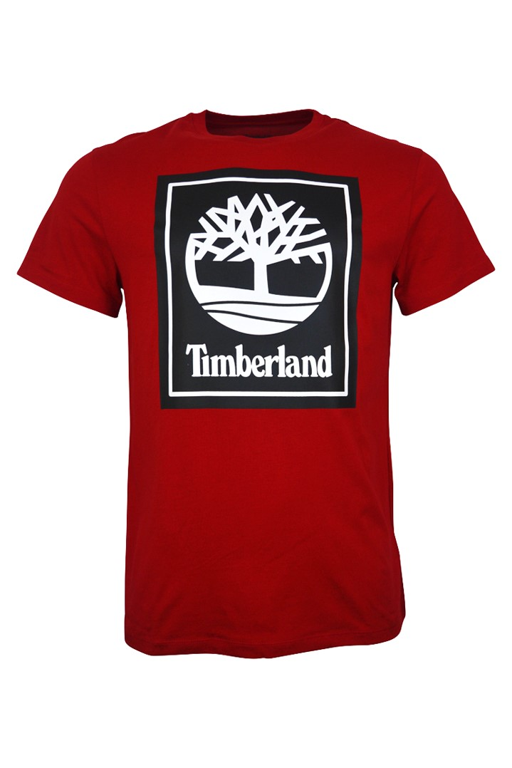 Timberland – Stack Logo T-Shirt – Red