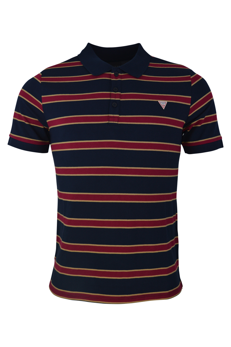 Guess – Ray Striped Polo – Navy