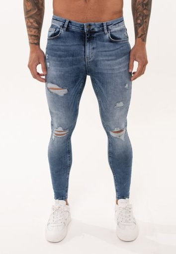 Nimes - Rip and Repair Jeans - Light Blue