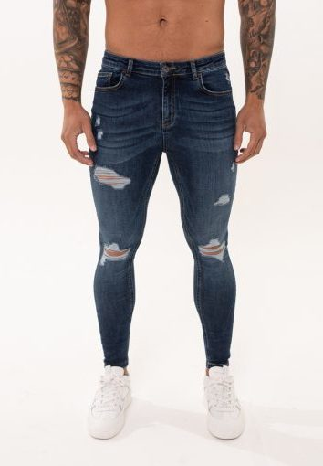 Nimes - Rip and Repair Jeans - Midnight Blue