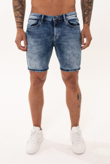 Nimes - Non Ripped denim Shorts - Light Blue