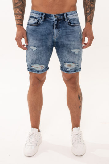 Nimes - Denim Rip Shorts - Light Blue