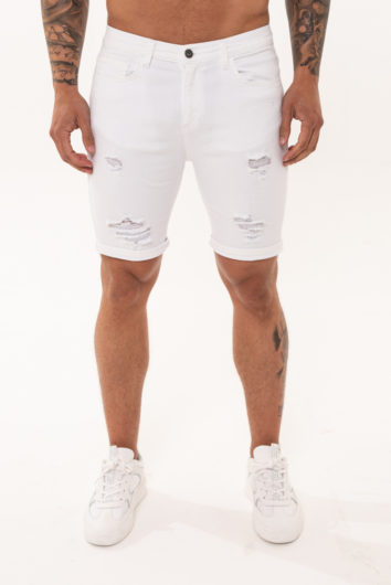 Nimes - Denim Rip Shorts - White