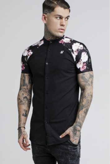 Sik Silk - Jeremy Oil Paint Grandad Shirt - Black