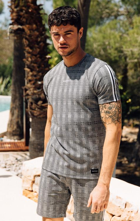 Mauvais – Checked Taped T-Shirt – Grey