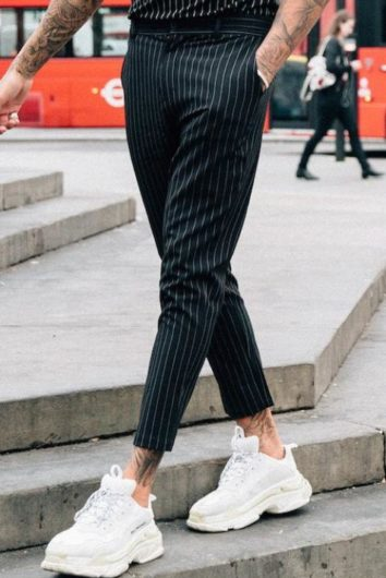 Mauvais - Pinstripe Cropped Trouser - Black