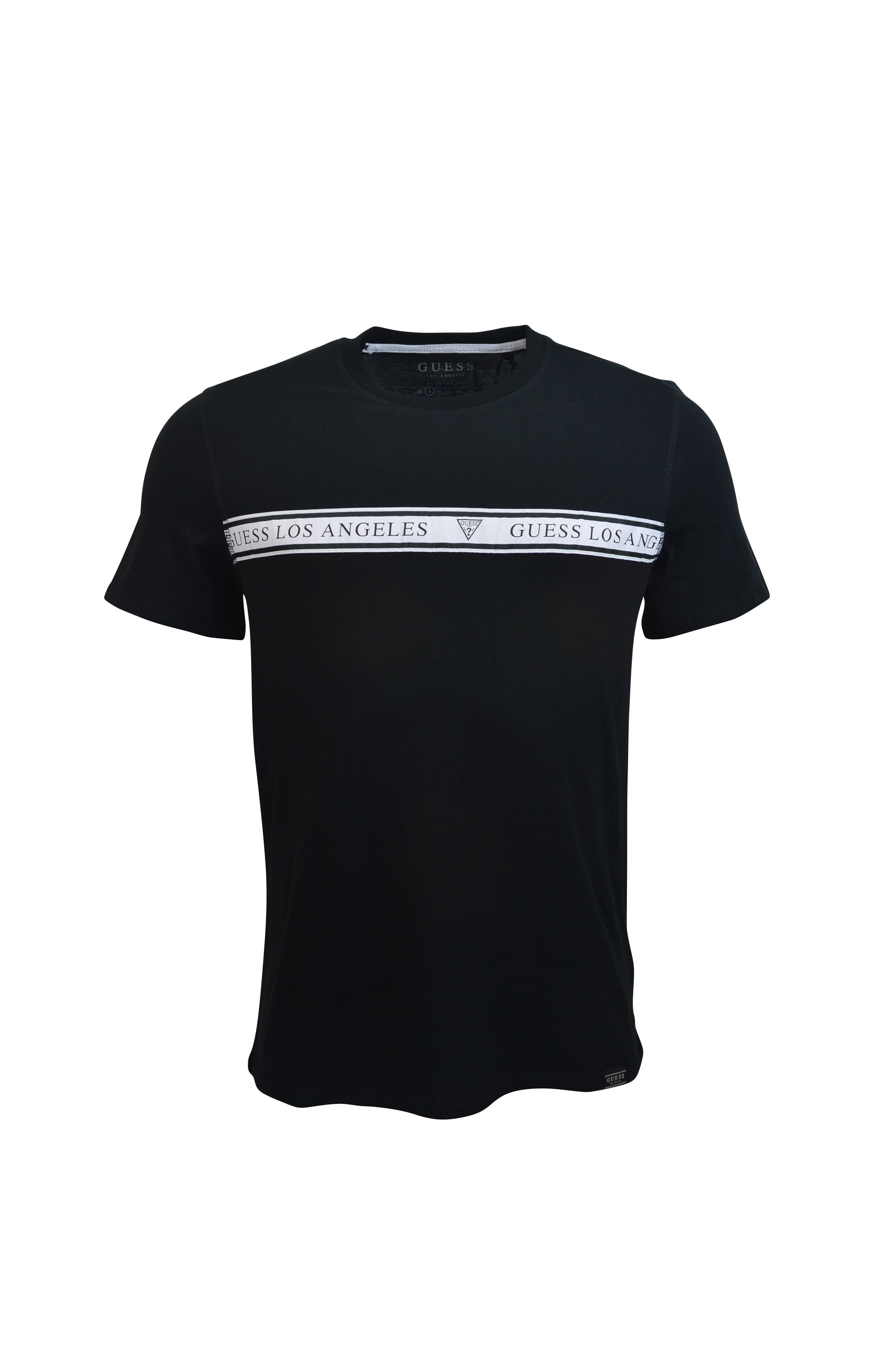 Guess – Middle Taped T-Shirt – Black