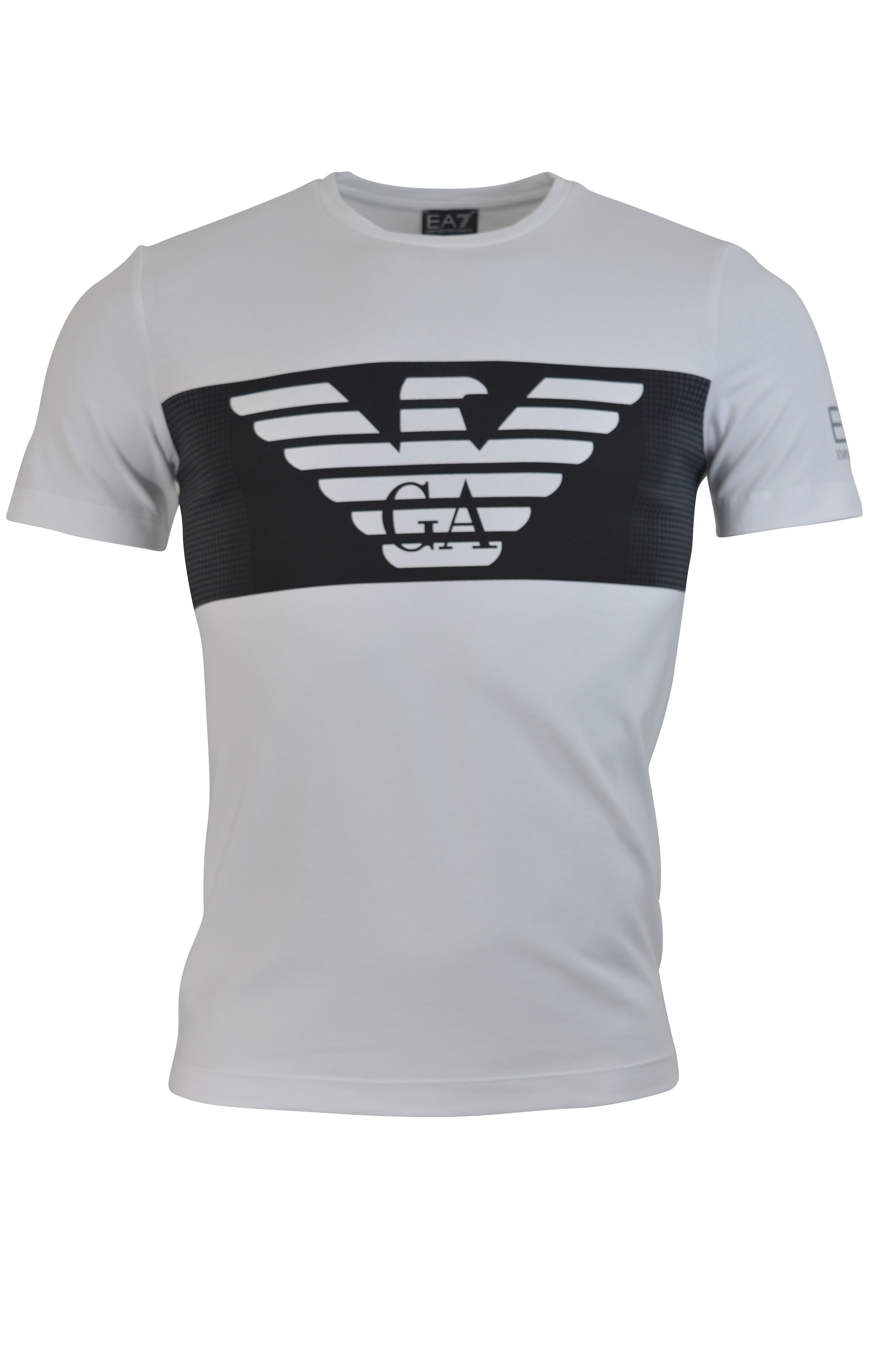 Men's T-shirt Black Short sleeves Crew neck Printed Eagle emblem with G A in grey tiones and EA7 logo in gold on sleeve 95% Cotton 5% Elastane Machine Wash