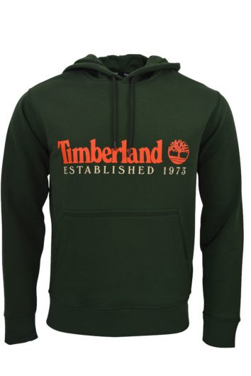 Mens Hoodie sweatshirt Navy Timberland rubberized logo on chest Shell 80% cotton 20% polyester Machine wash