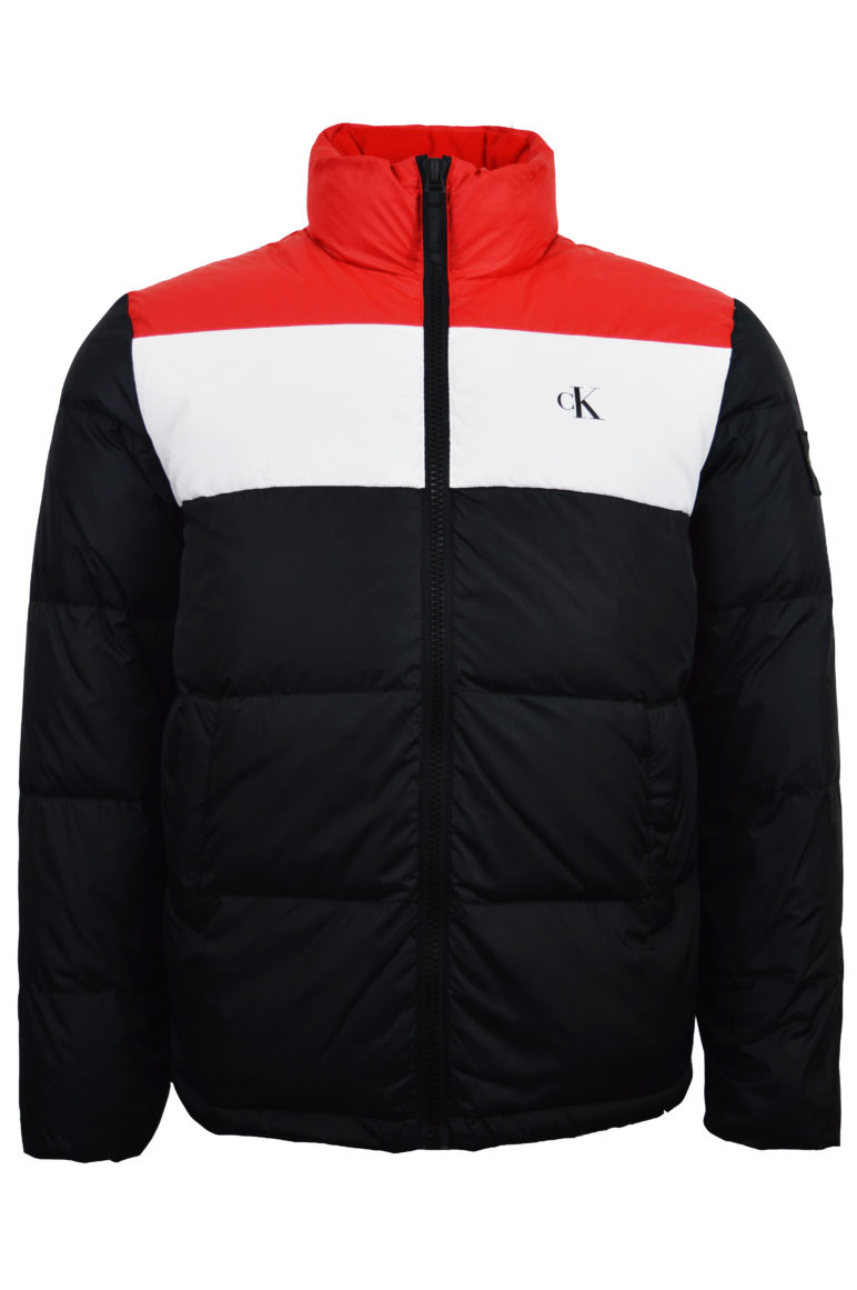 Calvin Klein - 4547 Colour Block Down Puffer Jacket - Black / Red