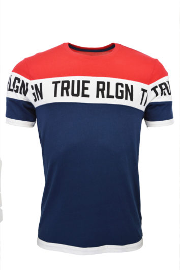 True Religion - Colour Blocked T-Shirt - Red