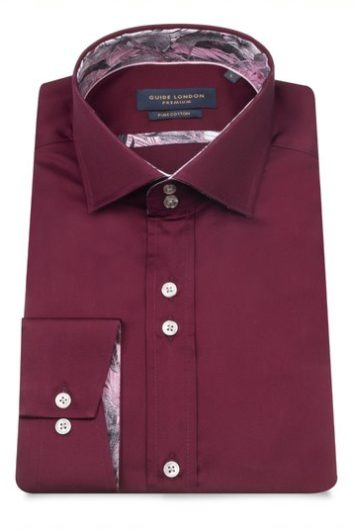 Guide London - Long Sleeve Shirt LS75296 - Burgundy