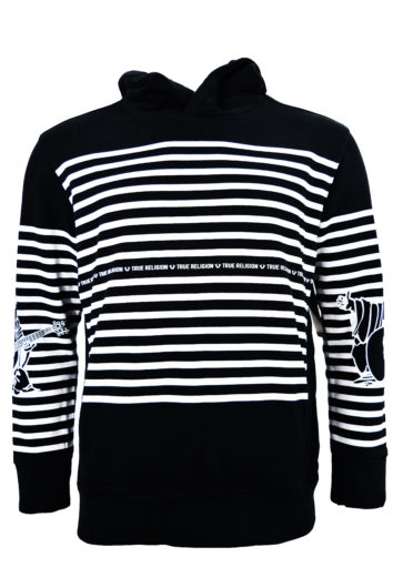 True Religion - Stripe Buddha Hoodie - Black