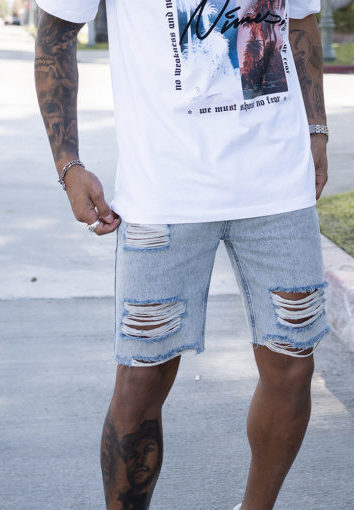 Nimes - Distressed Denim Shorts - Acid Wash Blue
