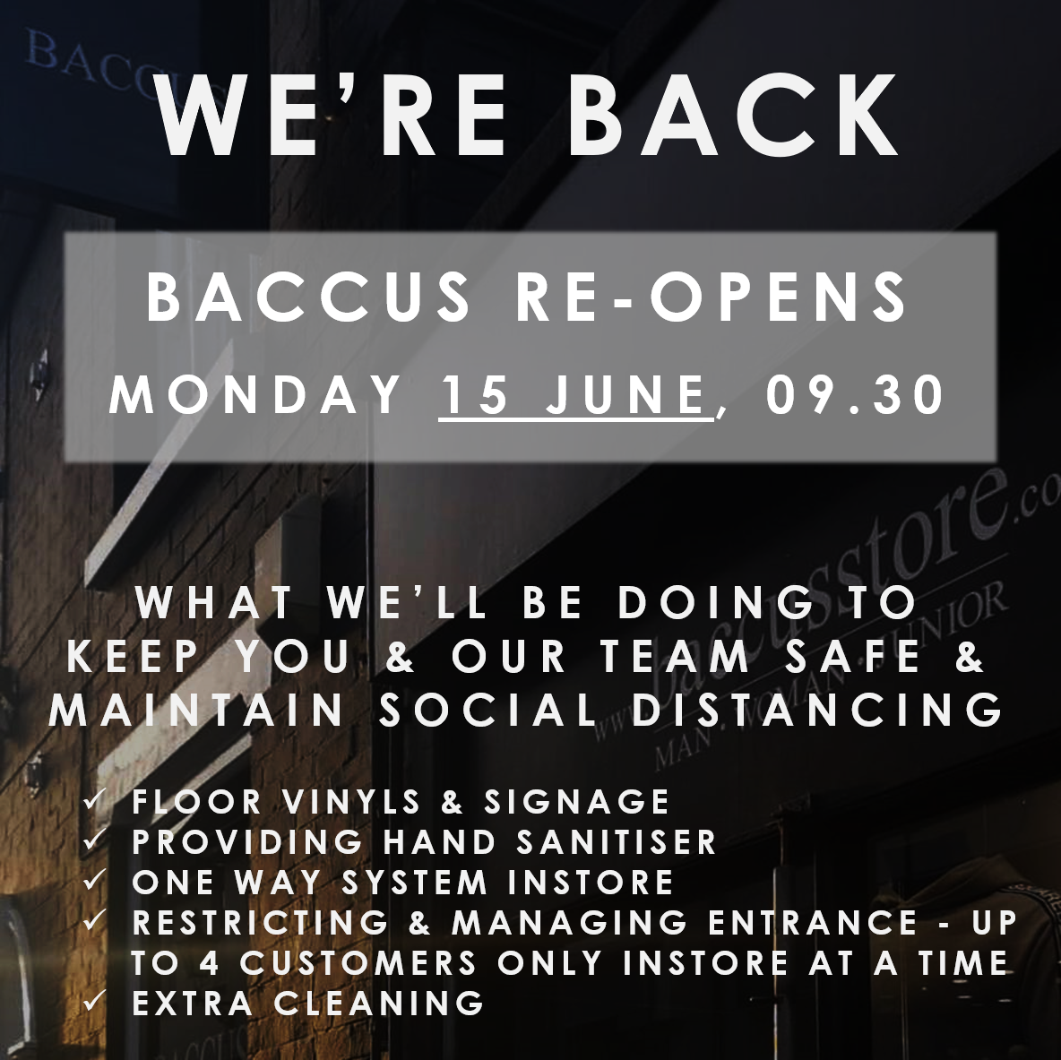 BACCUS REOPENS 1