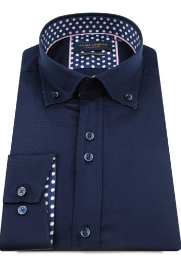 Guide London - Long Sleeve Shirt LS75816 - Navy